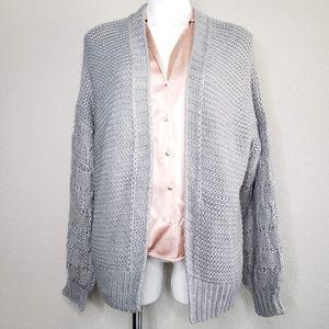 Cotton Emporium   NWT Gray Cardigan Thick Knit XL